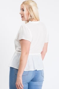Stylish Over-Wrap Top - White - Back