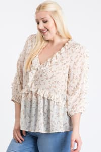 Throw On & Go Floral Top - Off White - Back