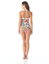 Anne Cole® Sunset Floral High Neck One Piece Swimsuit - Multi - Back