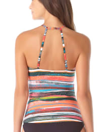 Anne Cole® Sand Stripe High Neck Tankini Swimsuit Top - Multi - Back