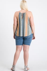 Summer-Loving Sleeveless Top - Blue Multi - Back