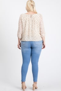 Floral Long Sleeve Top - Ivory - Back