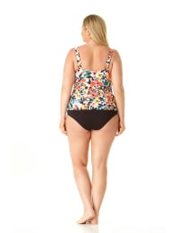 Pre-Order Anne Cole® Sunset Floral Twist Front Tankini Swimsuit Top - Multi - Back