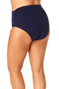 Anne Cole® Live in Color Hi Waist Shirred Swimsuit Bottom - Navy - Back