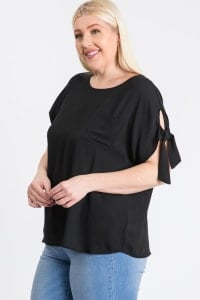 Ribbon Sleeve Top - Black - Back