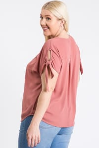 Ribbon Sleeve Top - Mauve - Back