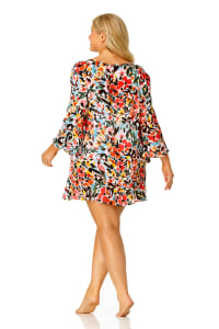 Pre-Order Anne Cole® Sunset Floral Flounce Sleeve Swimsuit Cover-Up - Multi - Back