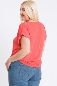 Off You Go Button-Down Tee - Coral - Back