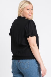 Frill Neck Smocking Top - Black - Back