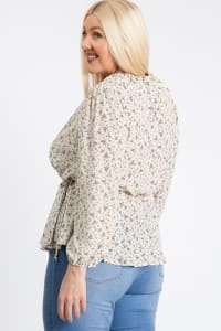 Business Or Pleasure Floral Wrap Top - Ivory - Back