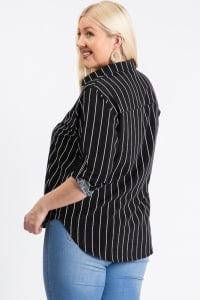Multi-Use Stripped Top - Black - Back