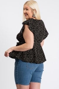 Flower Power Wrap Top - Black - Back