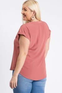 Much Needed Short Sleeve Top - Mauve - Back