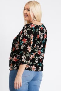 Ah-mazing Chiffon Floral Top - Black - Back