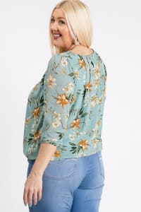 Ah-mazing Chiffon Floral Top - Dusty Blue - Back