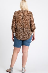 Tiger Print Blouse - Brown - Back