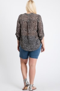 Tiger Print Blouse - Grey - Back