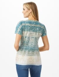 Tie Front Ombre Print Knit Top - Green Blue - Back