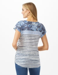 Denim Friendly Knot Front Mix Floral Stripe Top - White/Blue - Back