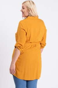 Buttoned Shirt Dress - Mustard - Back