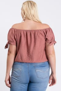 Off-Shoulder Short Sleeve Top - Mauve - Back