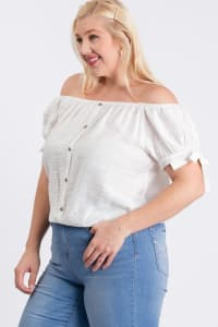 Off-Shoulder Short Sleeve Top - White - Back