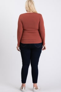V-Neck Plain Sweater - Rust - Back