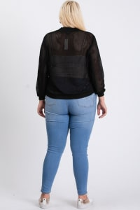 The Bold Fishnet Jacket - Black - Back