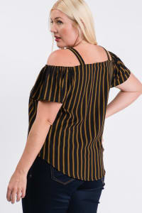 Striped Cold-shoulder Top - Mustard - Back