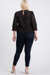 Stand Collar Eyelet Top - Black - Back