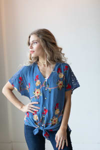 Embroidered Tie Front Blouse With Crochet - Chambray - Back
