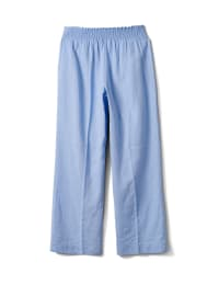 Smocked Waist Pull On Pant With Pockets - Chambray - Back
