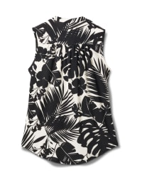 Tropical Floral Sleeveless Knit Popover - Black/Ivory - Back