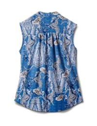 Paisley Sleeveless Knit Popover-Petite - Lt Blue-denim - Back