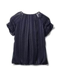 Petite Dot Bubble Hem Blouse - Navy - Back