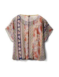Placed Paisley Bubble Hem Blouse - Navy/Terracotta - Back