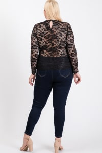 Outgoing Lace Top - Black - Back