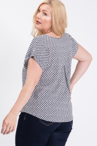 Challis Patterned Top - Navy - Back