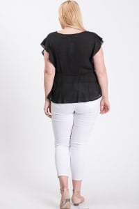 Over Wrap Top W/ Ribbon Belt - Black - Back