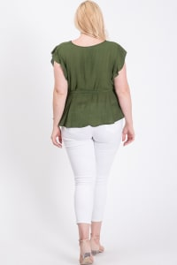 Over Wrap Top W/ Ribbon Belt - Olive - Back
