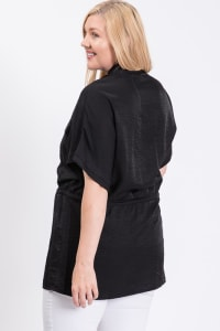 Tunic Shirt W/ Elastic Waist - Black - Back