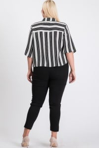 Carefree Stripe Shirt - Black - Back