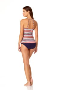 PRE ORDER Anne Cole® Jet Set Stripe High Neck Tankini Swimsuit Top - Multi - Back