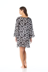 PRE ORDER Anne Cole® Riveria Paisley Flounce Sleeve Tunic Swimsuit Cover-Up - Black/White - Back