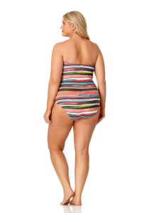PRE ORDER Anne Cole® Sand Stripe Bandeau One Piece Swimsuit - Multi - Back