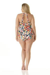 PRE ORDER Anne Cole® Sunset Floral Hi Neck One Piece Swimsuit - Multi - Back