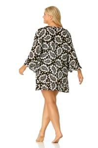 PRE ORDER Anne Cole® Riveria Paisley Tunic Swimsuit Cover-Up - Black/White - Back