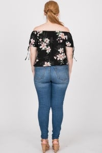 Delicate Floral Top - Black - Back