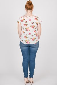 Colorful & Floral Print Top - White - Back