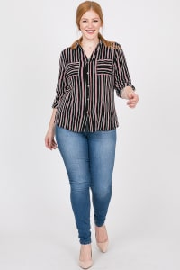 Never Gets Old Striped Shirt - Black - Back